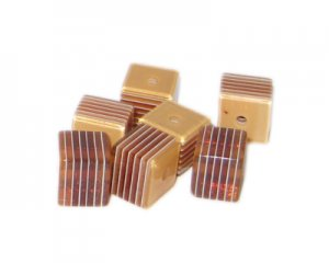 10mm Light Brown Striped Polyresin Cube Bead, approx. 30 beads