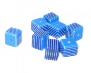 10mm Blue Striped Polyresin Cube Bead, approx. 35 beads