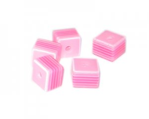 8mm Fuchsia Striped Polyresin Cube Bead, approx. 43 beads