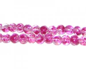 6mm Geranium Spray Glass Beads, approx. 72 beads