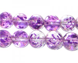 12mm Lavender Spray Glass Beads, approx. 18 beads