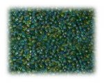 11/0 Grass Green Rainbow Luster Glass Seed Beads - 1 oz. Bag