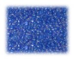 11/0 Deep Sky Blue Rainbow Luster Glass Seed Beads - 1 oz. Bag