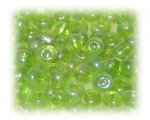 6/0 Apple Green Transparent Rainbow Glass Seed Beads, 1 oz. Bag