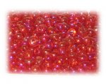 6/0 Strawberry Red Rainbow Luster Glass Seed Beads, 1 oz. Bag