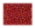 6/0 Rich Red Rainbow Luster Glass Seed Beads, 1 oz. bag