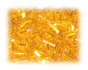 7 x 2mm Apricot Silver-Lined Bugle Bead, 1 oz. bag