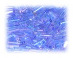7 x 2mm Blue Luster Bugle Bead, 1 oz. bag