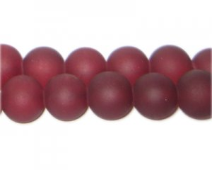 12mm Wine Red Sea/Beach-Style Glass Bead, approx. 18 beads