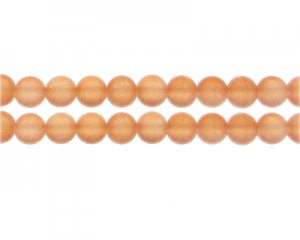 8mm Orange Sea/Beach-Style Glass Bead, approx. 35 beads