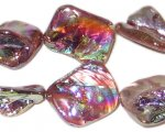 14 - 21mm Plum/Purple Irregular Diamond Luster Shell Bead