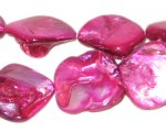 14 - 21mm Fuchsia Irregular Diamond Shell Bead, approx. 20 beads