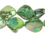 14 - 21mm Grass Green Irregular Diamond Shell Bead