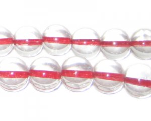 12mm Red Inside-Color Glass Bead, approx. 18 beads