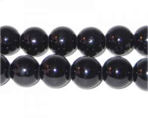 12mm Black Team and School Glass Bead, approx. 14 beads