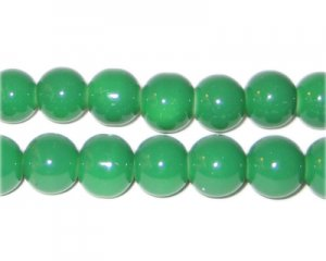 10mm Green Team and School Glass Bead, approx. 22 beads