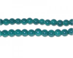 6mm Teal Team and School Glass Bead, approx. 73 beads