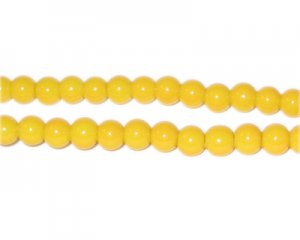 6mm Yellow Gold Team and School Glass Bead, approx. 73 beads
