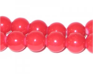 12mm Red Team and School Glass Bead, approx. 18 beads