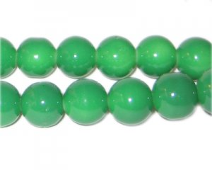 12mm Green Team and School Glass Bead, approx. 18 beads