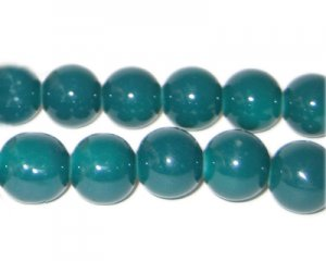 12mm Teal Team and School Glass Bead, approx. 18 beads