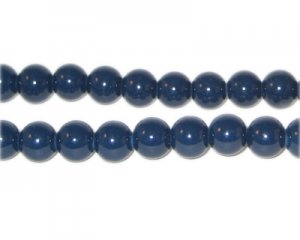 8mm Midnight Blue Team and School Glass Bead, approx. 56 beads
