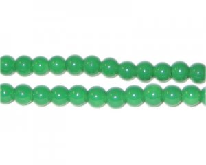 6mm Green Team and School Glass Bead, approx. 73 beads