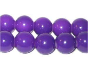 12mm Purple Team and School Glass Bead, approx. 18 beads
