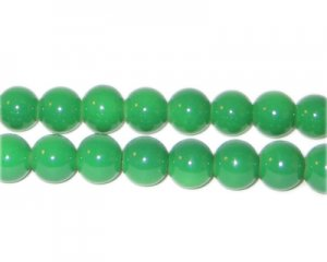 8mm Green Team and School Glass Bead, approx. 56 beads