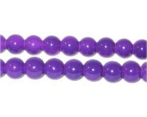 8mm Purple Team and School Glass Bead, approx. 56 beads