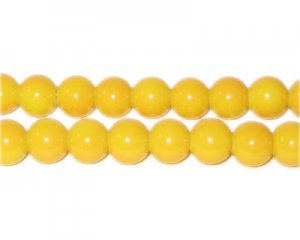 8mm Yellow Team and School Glass Bead, approx. 56 beads