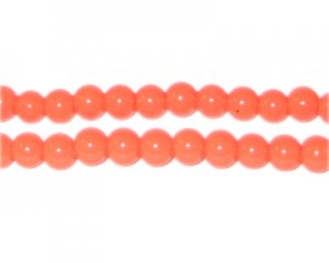 6mm Orange Team and School Glass Bead, approx. 73 beads