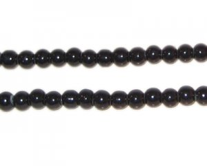 "4mm Black Team and School Glass Bead, 11"" string"