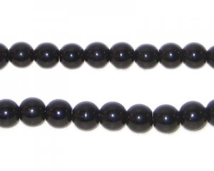6mm Black Team and School Glass Bead, approx. 73 beads