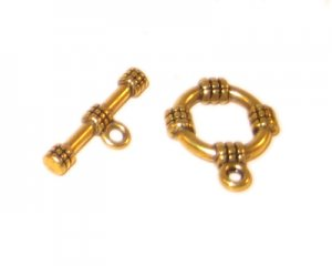14 x 12mm Antique Gold Toggle Clasp, 2 clasps