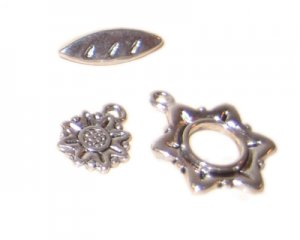 20 x 18mm Antique Silver Toggle Clasp, plus Charm - 2 clasps