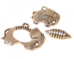 22 x 20mm Silver Toggle Clasp, plus Charm - 2 clasps