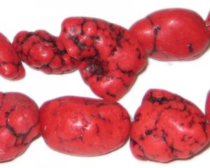 10 - 20mm Dyed Red Turquoise Nuggets, approx. 26 beads