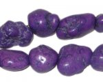 10 - 20mm Dyed Purple Turquoise Bead Nuggets, approx. 26 beads