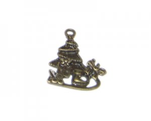22 x 28mm Bronze Sleigh and Tree Metal Pendant