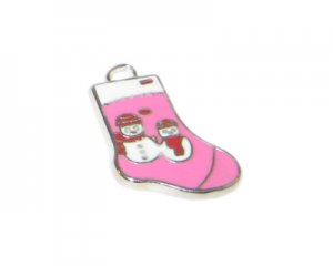 16 x 24mm Enamel Fuchsia Stocking Metal Charm
