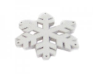 36mm White Wood Snowflake, 4 ornaments
