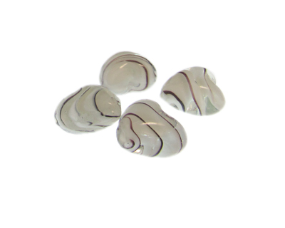 20mm White Striped Heart Lampwork Glass Bead, 5 beads