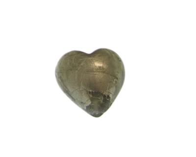 28mm Silver Foil Heart Lampwork Glass Bead, 2 beads