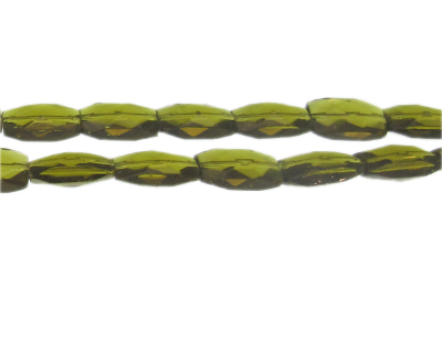 "14 x 10mm Olive Faceted Rectangle Glass Bead, 13"" string"
