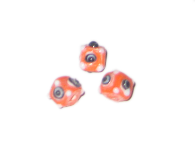 8mm Orange Bumpy Cube Lampwork Glass Bead, 6 beads - Click Image to Close