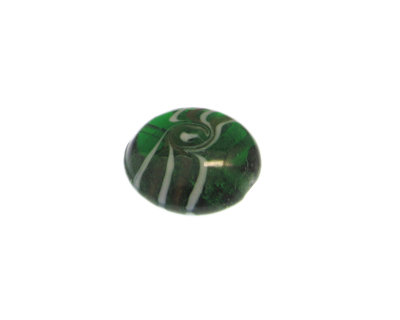 28mm Green Pattern Lampwork Glass Bead