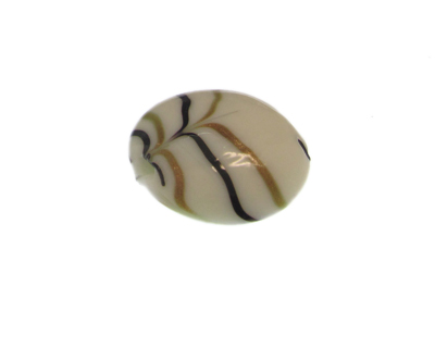 34mm White Striped Lampwork Glass Bead