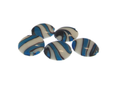 20mm Turquoise/White Pattern Lampwork Glass Bead, 5 beads