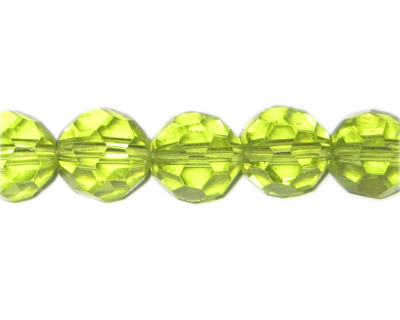 14mm Apple Green Faceted Round Glass Bead, 6 beads